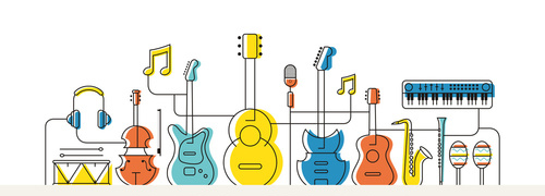 Music Instruments Objects Background, Line Design, Festival, Eve
